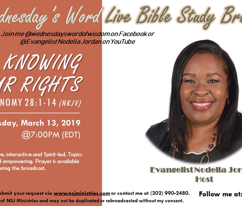Wednesday's Word Live Bible Study Broadcast lesson on knowing our rights as children of Father God.