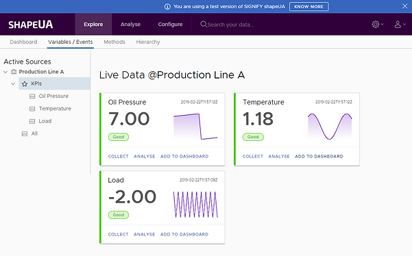OPCUA live variables dashboard