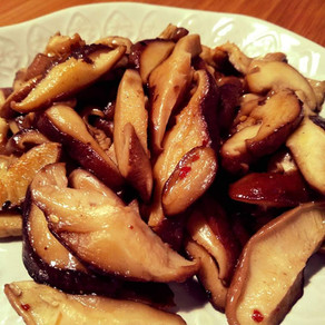 Cogumelos salteados com Shichimi.