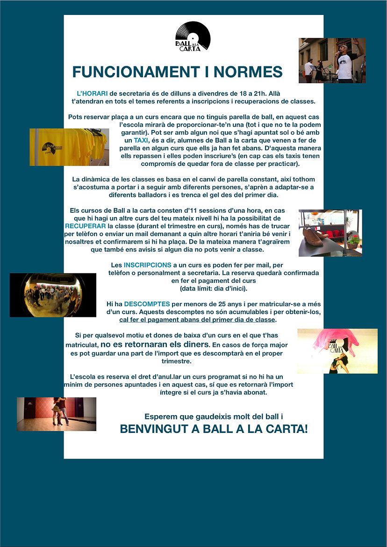 funcionament i normes de l'escola Ball a la carta de la Garriga