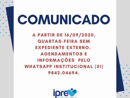 Comunicado: expediente interno nas quartas-feiras
