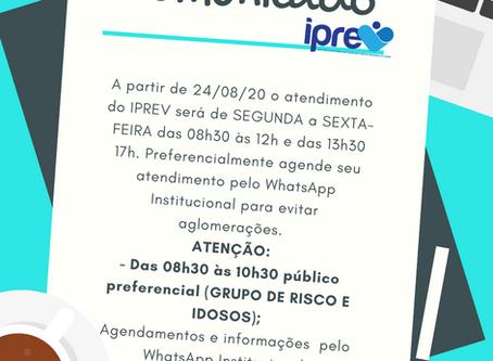 COMUNICADO: Horários de atendimento a partir de 24/08/2020