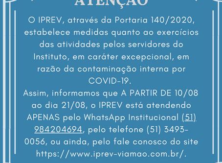 IPREV estabelece medidas quanto ao exercícios das atividades pelos servidores do Instituto