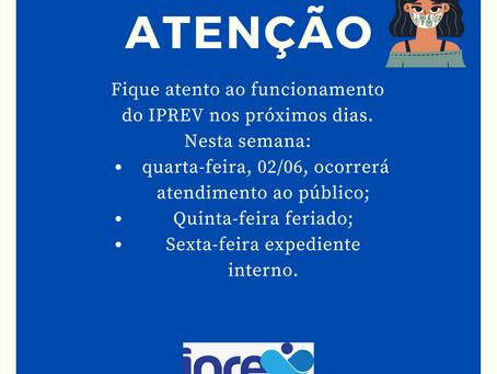 Funcionamento IPREV primeira semana de junho