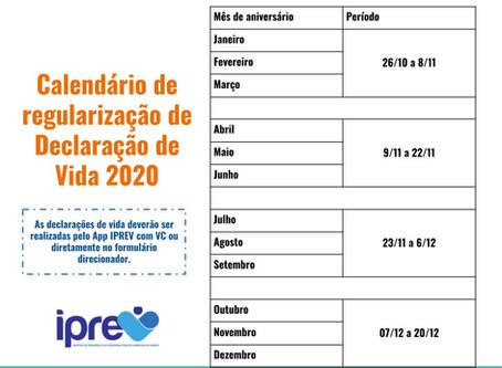 Calendário de regularização de Declaração de Vida 2020