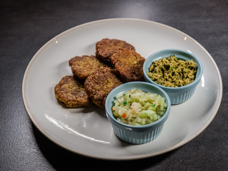 Sweet Potato Fritters with Pickled Cucumber & Bajan Field Pea Dip