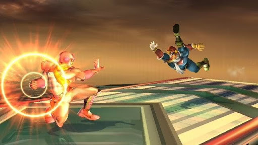 Captain Falcon (Right) tripping into a Falcon Punch (left)