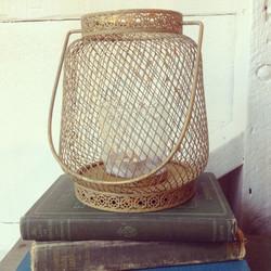 {Aged Gold Wire Lantern}