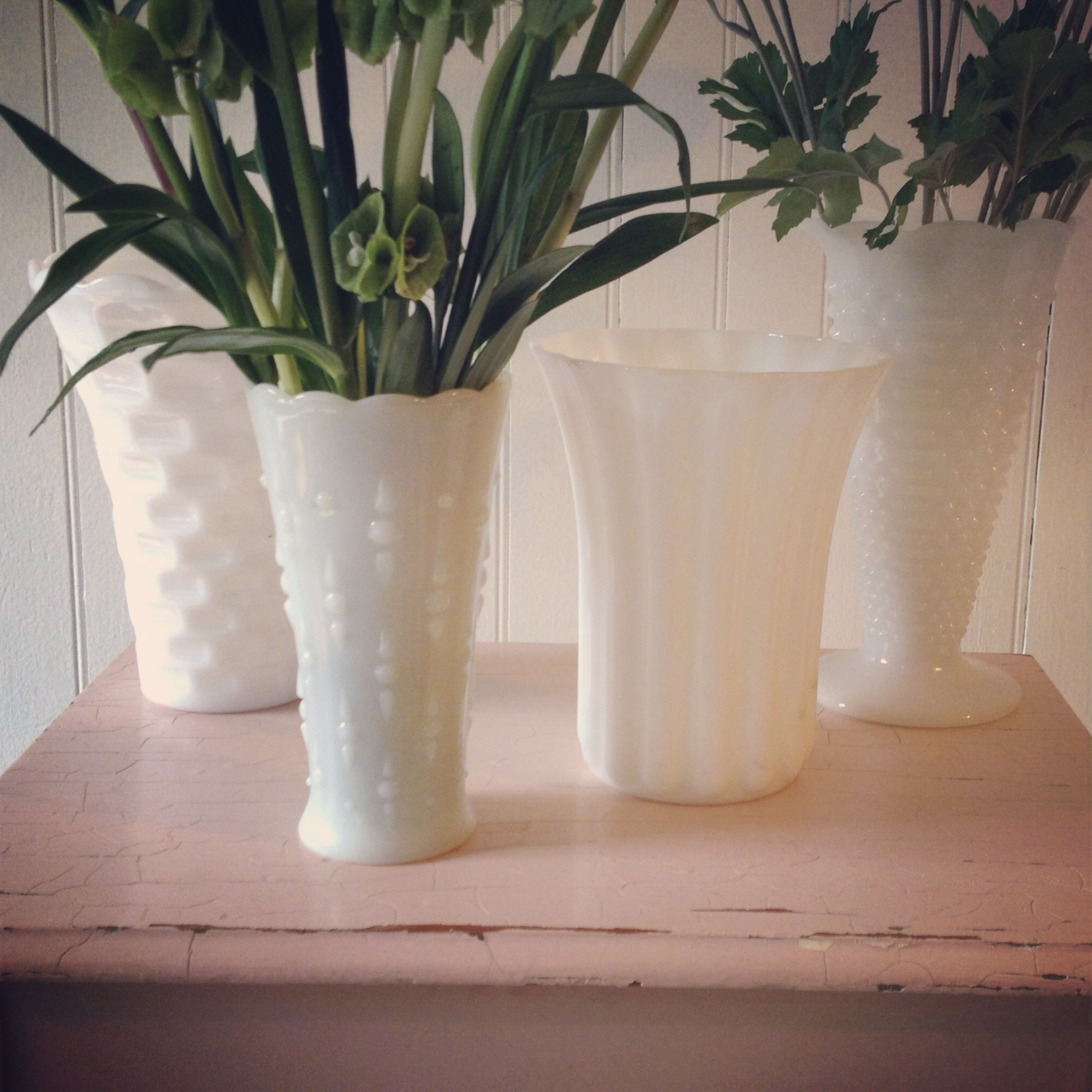 {Milk Glass Vases}