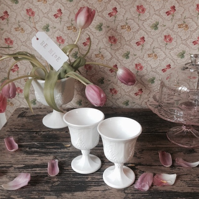 {Milk Glass Stemware}