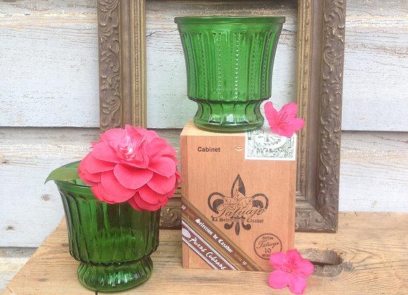Bright Green Glass Flower Pot Set