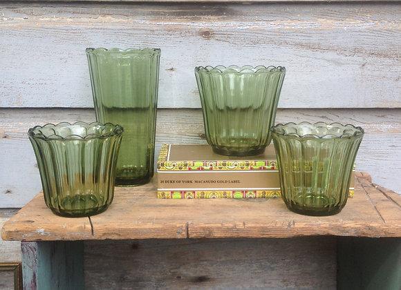 Green Glass Flower Pot & Vase Set