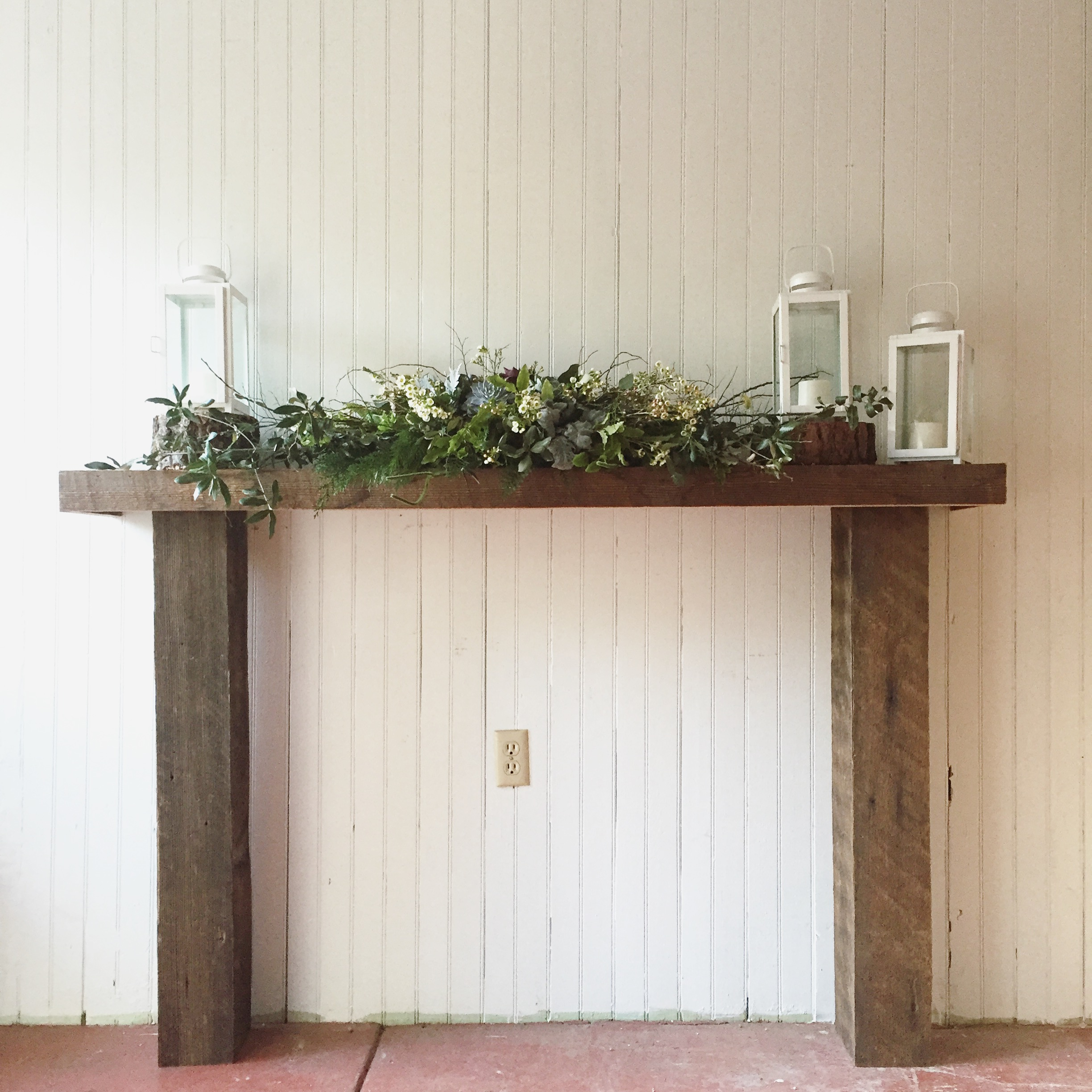 { Rustic Wood Mantel }