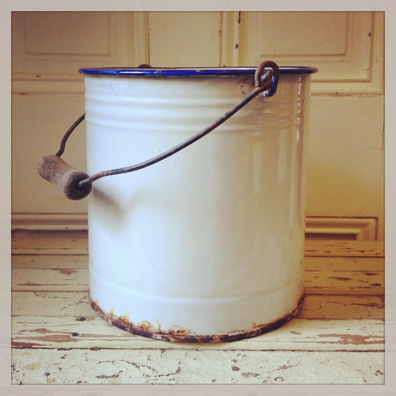 {White Enamel Bucket}