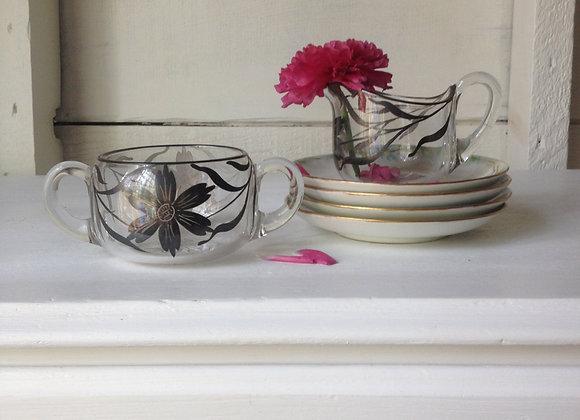 Hand-painted Glass Cream & Sugar Set