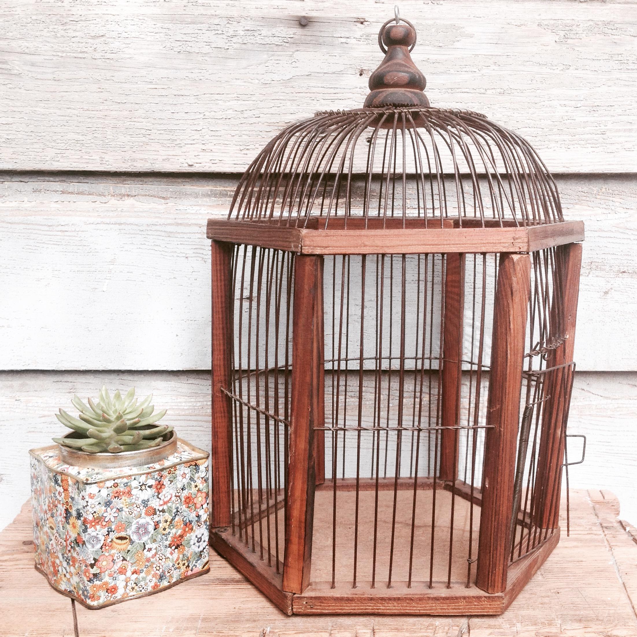 {Wood & Wire Birdcage - $15}