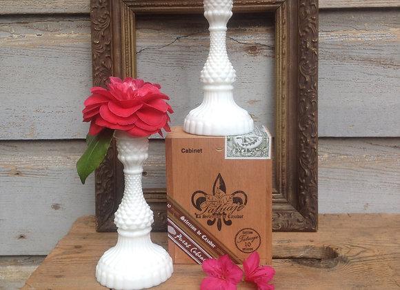 Milk Glass Hobnail Candlestick Set
