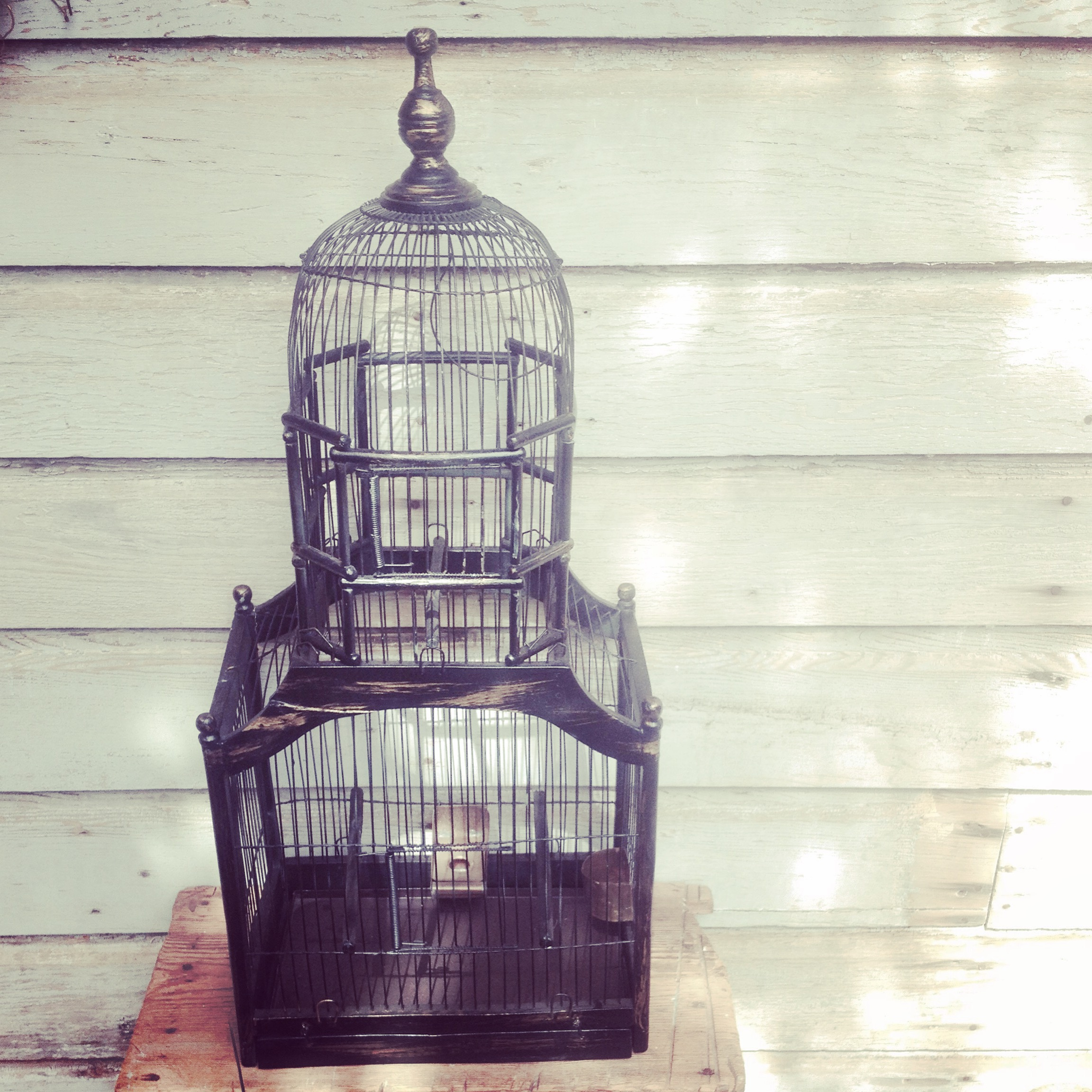 {Black Wood Birdcage - $25}
