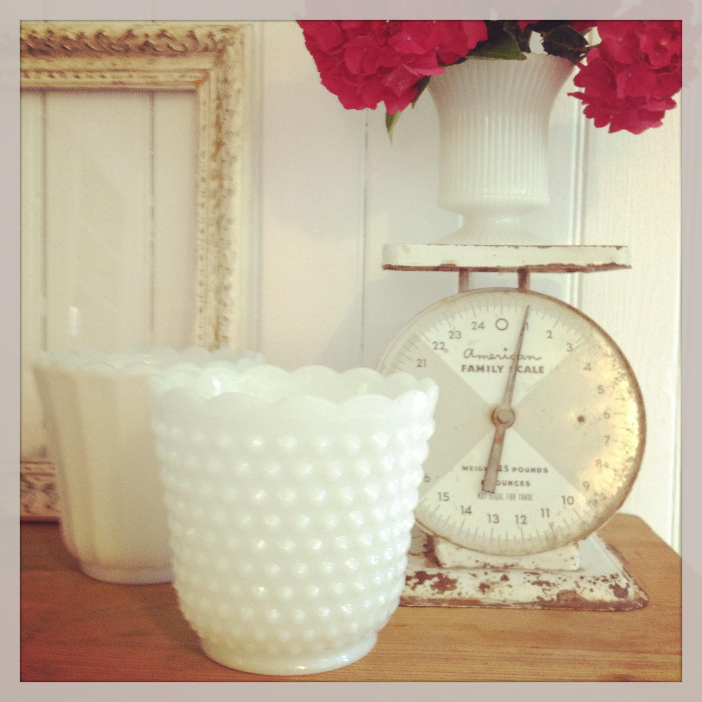 {Milk Glass Flower Pots}