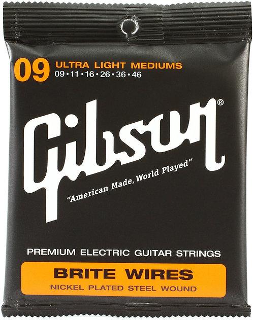 GIBSON BRITE WIRES ELECTRIC GUITAR STRINGS ULTRA LIGHT MEDIUMS - SEG-700ULMC