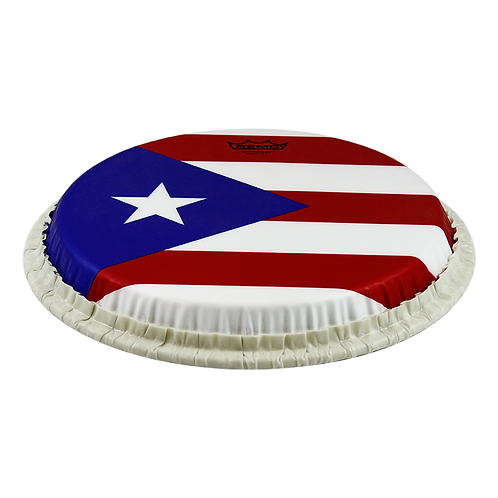 """REMO TUCKED SKYNDEEP CONGA DRUMHEAD - PUERTO RICAN FLAG GRAPHIC, 11.75"""""""