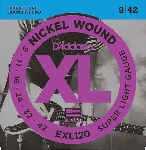 D'ADDARIO EXL120 NICKEL WOUND , SUPER-LIGHT, 09-42