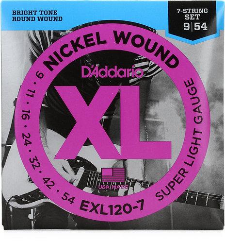 D'ADDARIO EXL120-7 NICKEL WOUND 7-STRING , SUPER LIGHT, 09-54