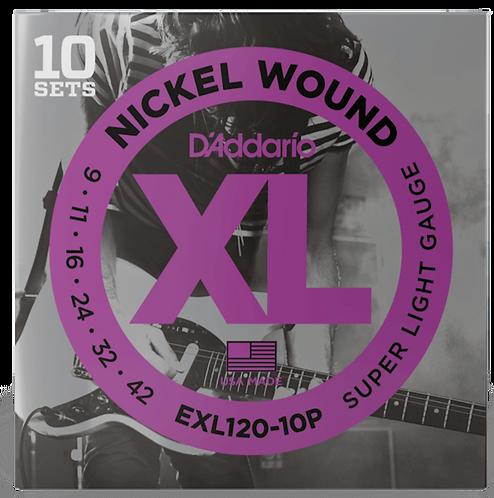 D'ADDARIO EXL120-10P NICKEL WOUND , SUPER LIGHT, 9-42, 10 SETS