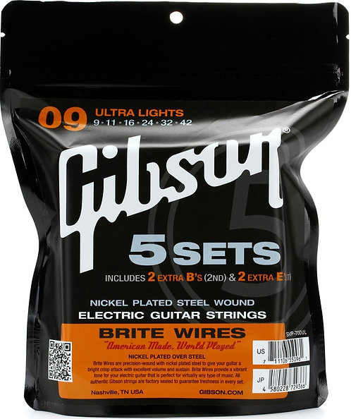 GIBSON BRITE WIRES ELECTRIC GUITAR STRINGS ULTRA LIGHTS - SVP-700UL