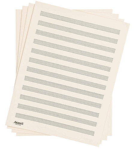 ARCHIVES DOUBLE-FOLDED MANUSCRIPT PAPER SHEETS, 12 STAVE, 24 SHEETS