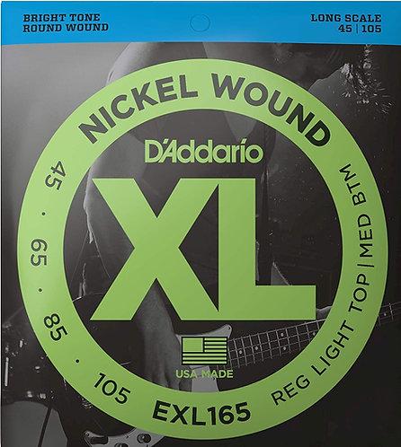 D'ADDARIO EXL165 NICKEL WOUND , CUSTOM LIGHT, 45-105, LONG SCALE