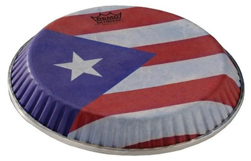 REMO SYMMETRY SKYNDEEP CONGA DRUMHEAD - PUERTO RICAN FLAG GRAPHIC, 11.06""