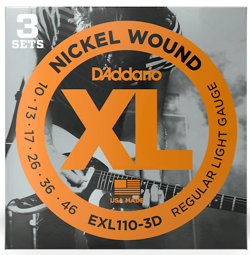 D'ADDARIO EXL110-3D NICKEL WOUND , REGULAR LIGHT, 10-46, 3 SETS