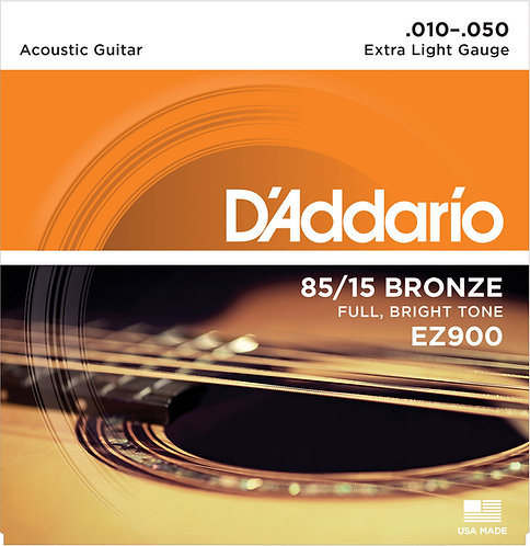 D'ADDARIO EZ900 85/15 BRONZE ACOUSTIC GUITAR STRINGS, EXTRA LIGHT, 10-50