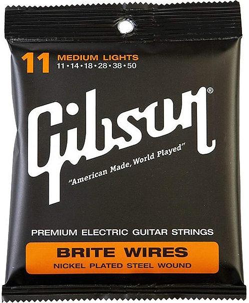 GIBSON BRITE WIRES ELECTRIC GUITAR STRINGS MEDIUM LIGHTS - SEG-700ML