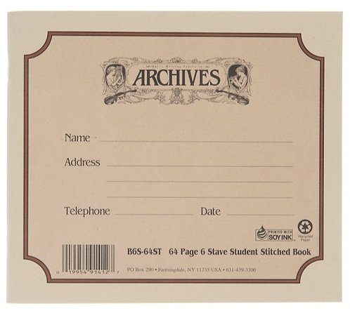ARCHIVES STANDARD BOUND MANUSCRIPT PAPER BOOK, 6 STAVE, 64 PAGES