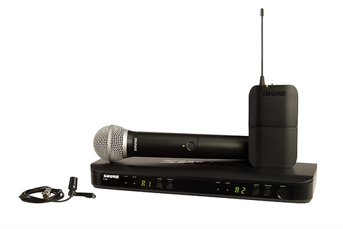 SHURE BLX1288/CVL WIRELESS COMBO SYSTEM WITH PG58 HANDHELD AND CVL LAVALIER