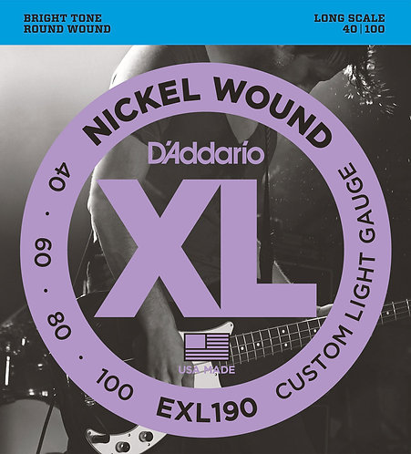 D'ADDARIO EXL190 NICKEL WOUND , CUSTOM LIGHT, 40-100, LONG SCALE