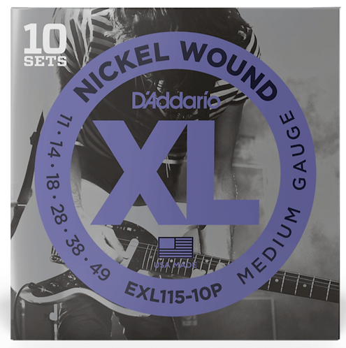 D'ADDARIO EXL115-10P NICKEL WOUND, MEDIUM/BLUES-JAZZ ROCK, 11-49, 10 SETS