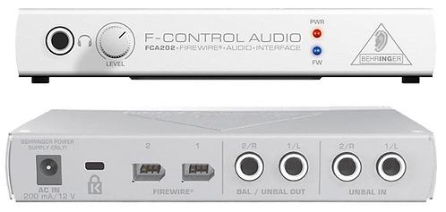 BEHRNGER FCA202 AUDIOPHILE 2 IN/2 OUT FIREWIRE AUDIO INTERFACE