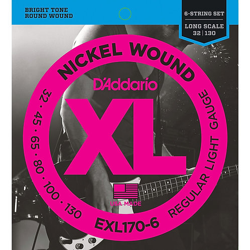 D'ADDARIO EXL170-6 6-STRING NICKEL WOUND , LIGHT, 32-130, LONG SCALE