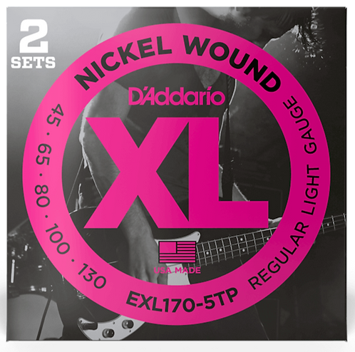 D'ADDARIO EXL170-5TP NICKEL WOUND , LIGHT, 45-130, 2 SETS, LONG SCALE