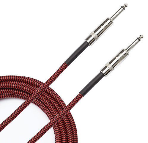 PLANET WAVES BRAIDED INSTRUMENT CABLE, 15' - RED