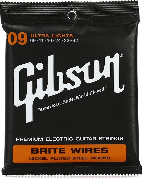 GIBSON BRITE WIRES ELECTRIC GUITAR  STRINGS ULTRA LIGHTS- SEG-700UL