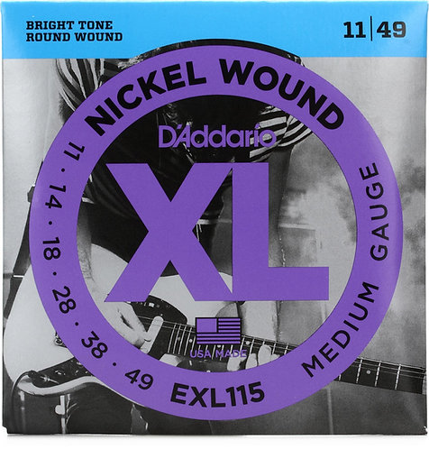 D'ADDARIO EXL115 NICKEL WOUND , MEDIUM/BLUES-JAZZ ROCK, 11-49