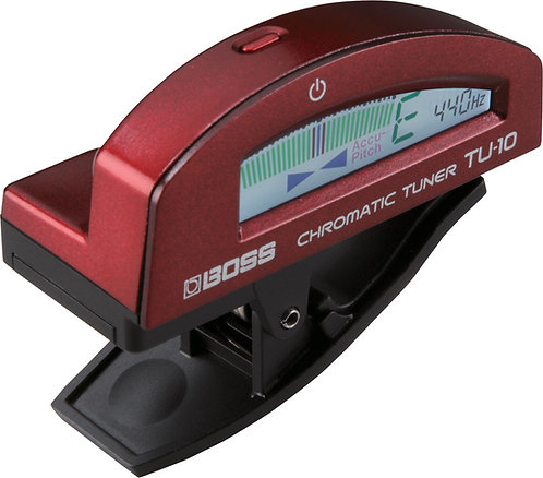 BOSS CLIP-ON CHOME/TUNER BLUE - TU-10 RED