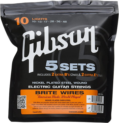 GIBSON BRITE WIRES ELECTRIC GUITAR STRINGS LIGHTS 5 PACK - SVP-700L