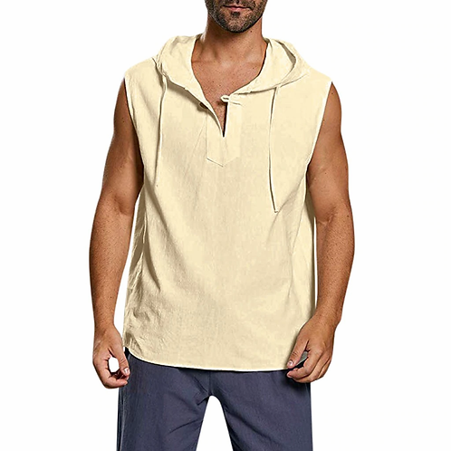 sleeveless hooded shirt - Cream