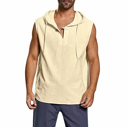 sleeveless hooded shirt - White