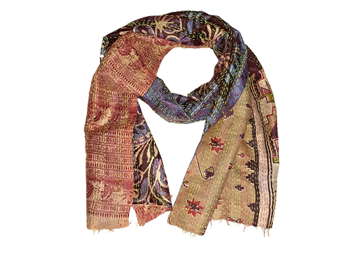 Reversible cotton/silk scarf with embroidery
